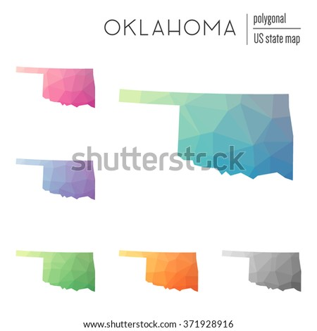 Oklahoma state map in geometric polygonal style. Set of Oklahoma state maps filled with abstract mosaic, modern design background. Multicolored state map in low poly style - stock vector