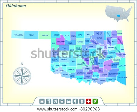 Oklahoma State Map with Community Assistance and Activates Icons Original Illustration - stock vector