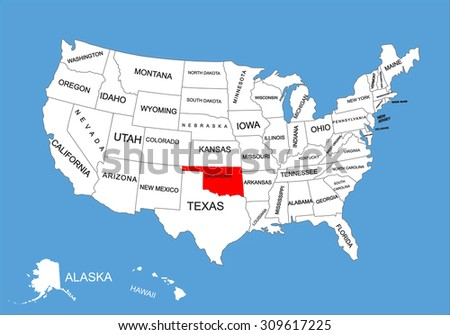 oklahoma state usa vector map isolated on united states map editable blank vector