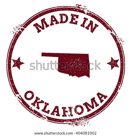 Oklahoma vector seal. Vintage USA state map stamp. Grunge rubber stamp with Made in Oklahoma text and USA state map, vector illustration. - stock vector