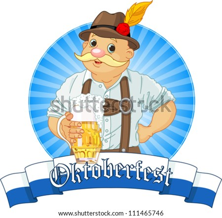 Oktoberfest Bavarian Label with stripe for text - stock vector