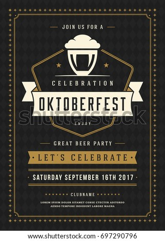 Oktoberfest Beer Festival Celebration Retro Typography Stock