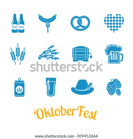 Oktoberfest beer festival icons and octoberfest signs on white background