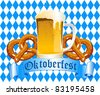 Oktoberfest Celebration Background with Beer and Pretzel - stock vector
