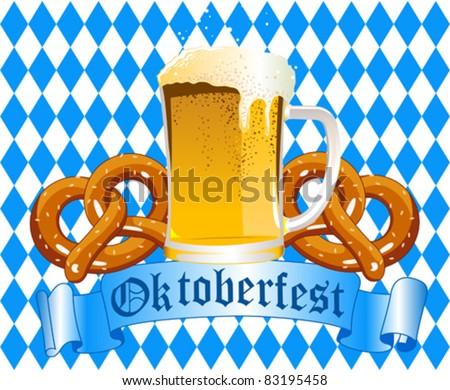 Oktoberfest Celebration Background with Beer and Pretzel - stock vector