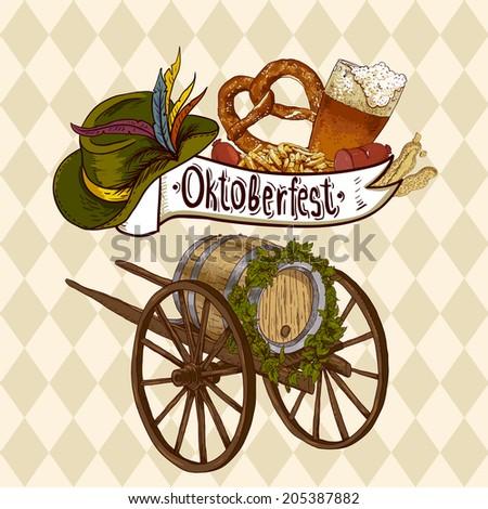 Oktoberfest celebration design with Bavarian hat, beer glasses and pretzel. Vector illustration - stock vector