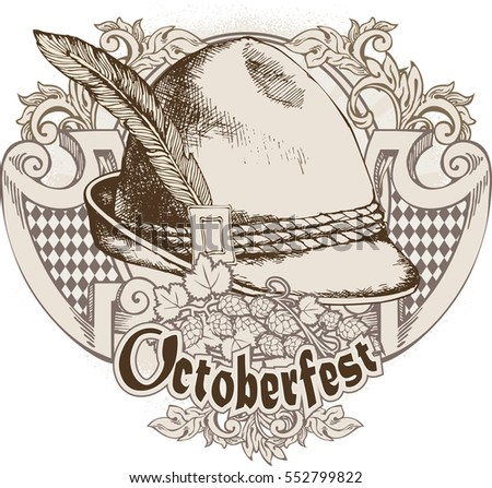 Oktoberfest celebration design with Bavarian hat. Vector illustration. Engraving style