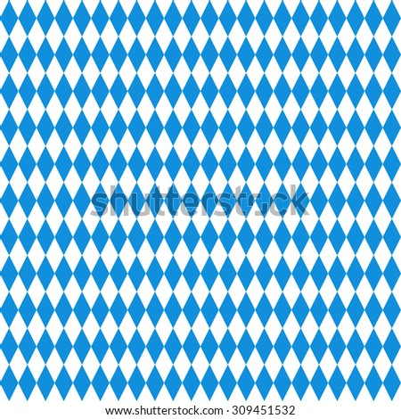 Oktoberfest checkered background. Blue diamonds on white seamless pattern - stock vector