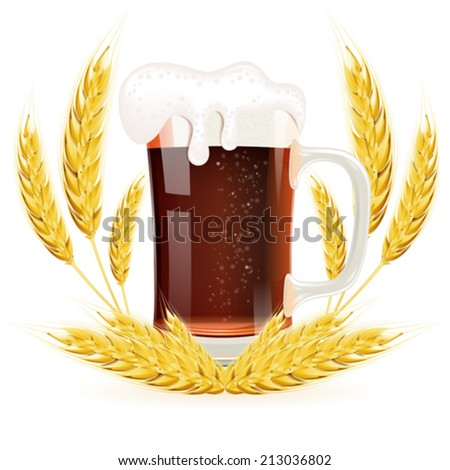 Oktoberfest Concept with Glass of Beer and Ears of Barley, vector isolated on white background - stock vector