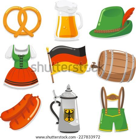 Oktoberfest Design Elements Icons vector illustration icons. - stock vector
