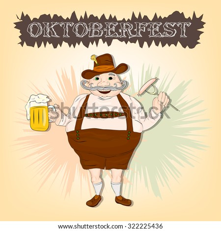 Oktoberfest festival. Fat bavarian man with beer and smoking sausage - stock vector