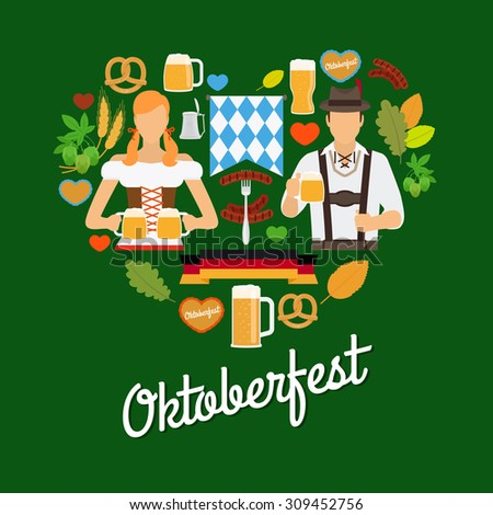 Oktoberfest flat elements in shape of heart with hops, beer and avatars in traditional german clothes - stock vector