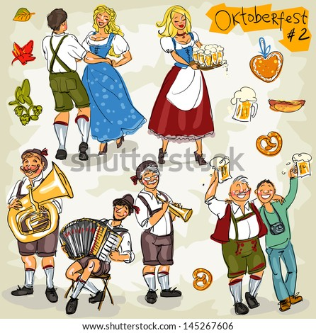 Oktoberfest - hand drawn clip art collection  - part 2. Sketch, isolated - stock vector