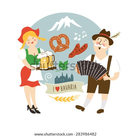 Oktoberfest label, Bavarian man and waitress with beer - stock vector