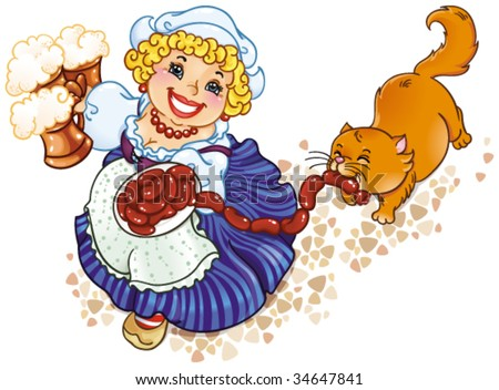 Oktoberfest lady. A humorous vector drawing of festival - stock vector