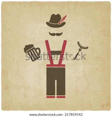 Oktoberfest man with beer mug and sausage - vector illustration. eps 10
