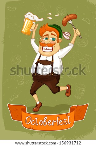 Oktoberfest poster of burger with sausage and beer vector illustration - stock vector