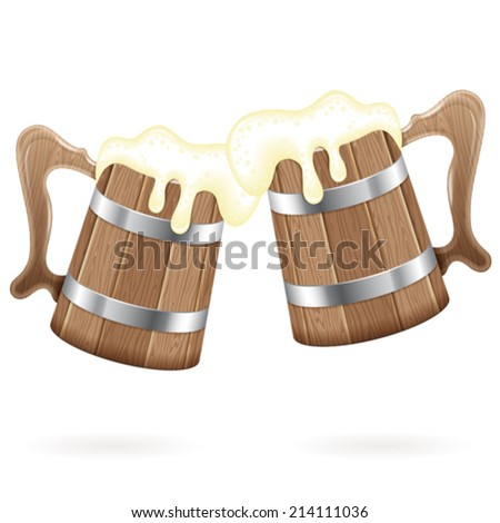 Oktoberfest Poster - Two Wooden Mugs with Beer, vector isolated on white background - stock vector