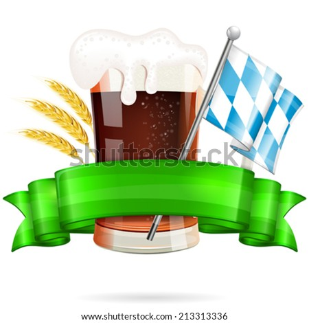 Oktoberfest Poster with Bavarian Flag, Glass of Beer, Barley and Green Ribbon, vector isolated on white background - stock vector