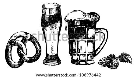 Oktoberfest set of beer, hops and pretzel. Hand drawn illustrations - stock vector