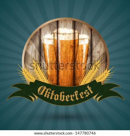 Oktoberfest vintage design, Vector illustration. - stock vector