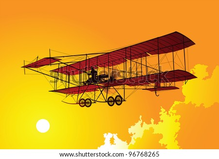 Old airplane - stock vector
