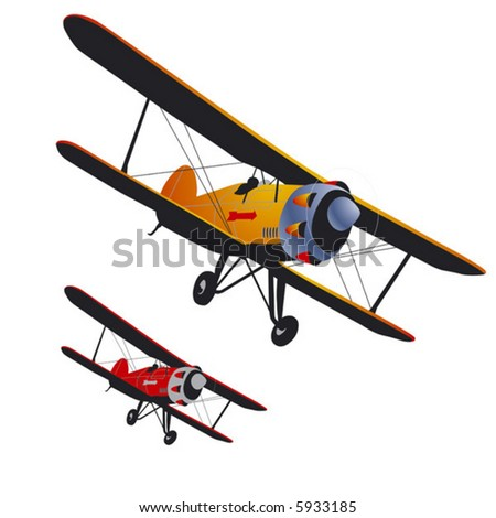 Old airplane. Vector with the gradient and the simple vector. - stock vector