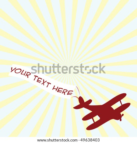 Old airplane with banner and place for sample text - stock vector