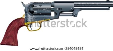 old American colt revolver - stock vector