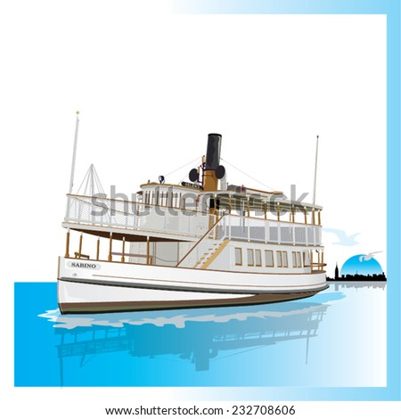 Old American Ferry isolated. Vector, illustration. - stock vector