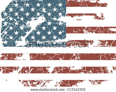old American flag - stock vector