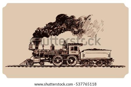 Old American Steam Locomotive Steam Train Stock Vector ...