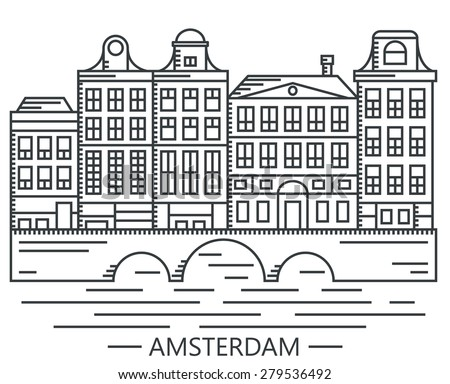 Old Amsterdam Holland houses on bridge set vector line drawn illustration isolated on white - stock vector