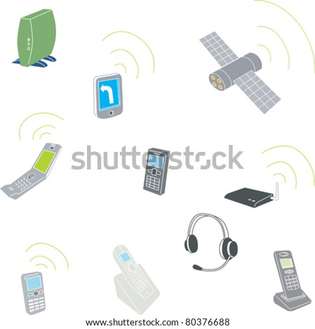 old and new cellphones - stock vector