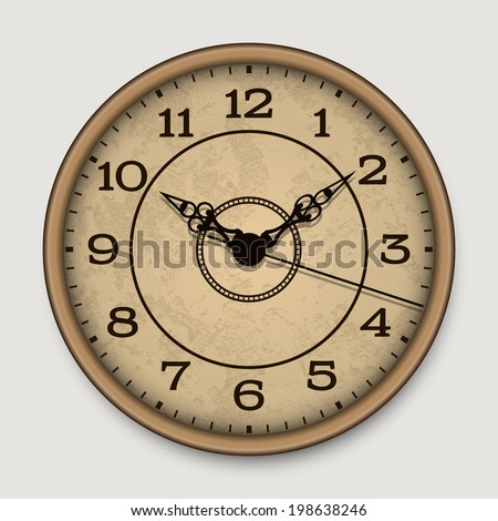 Old antique wall clock - stock vector