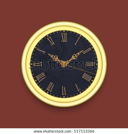 Old antique wall clock, eps10