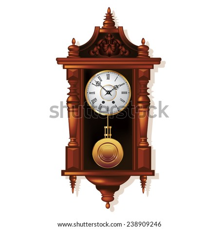 vintage wall clocks amazon antique for sale ireland pendulum clock parts stock vector isolated white illustration