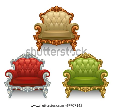 Old armchair - stock vector
