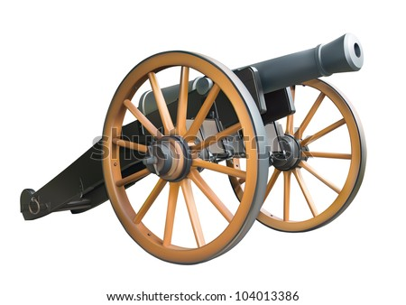 Old artillery cannon over white background - stock vector