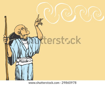 Old asian wizard casts a spell. - stock vector