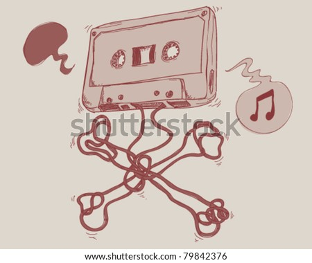 Old audio cassette. - stock vector