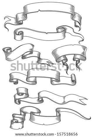Old banners, ribbons and manuscripts set isolated on white background. Jpeg version also available in gallery - stock vector
