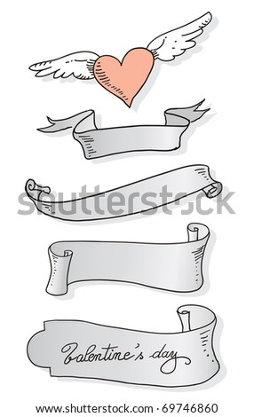 old banners vector drawings for valentine's day - stock vector