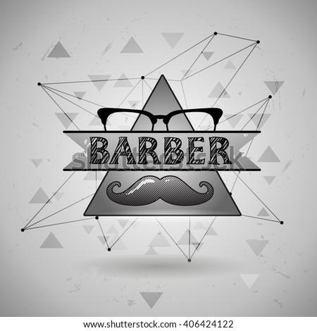 Old Barber Pole Sign Gentleman Shop Vintage Design Template Mustaches