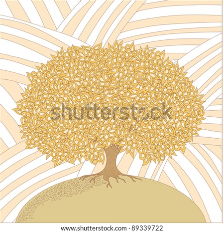 Old big isolated tree in a sketch appearance on a striped background - stock vector
