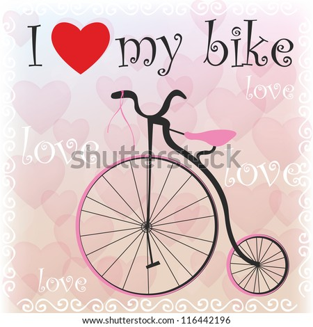 Old bike with pink elements - stock vector