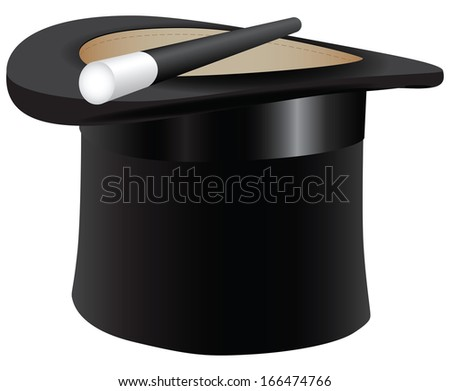 Old black cylinder hat with a magic wand. Vector illustration.