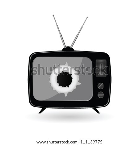 old black tv vector illustration on a white background