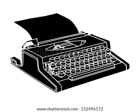 Old black type writer with paper sheet isolated on white background . - stock vector