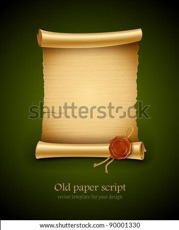old blank paper script background with stamp vector illustration. EPS10. Contains transparent objects used for shadows drawing - stock vector